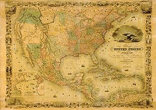 لوحة جدارية أمريكية 1849P من JP London MDXL91049P عليها صورة خريطة قديمة غير منسوجة 1849، عرض 30.48 سم في ارتفاع 8.5 سم