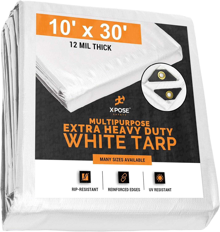 Heavy Duty White Low price Poly Branded goods Tarp 10' Cov Multipurpose 30' Protective x