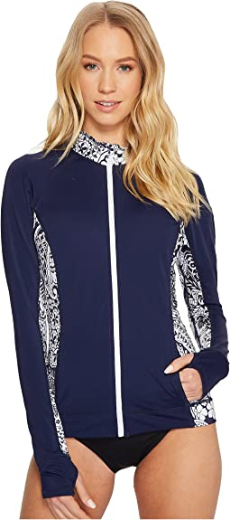 Tommy Bahama - IslandActive Paisley Paradise Zip-Front Rash Guard Cover-Up