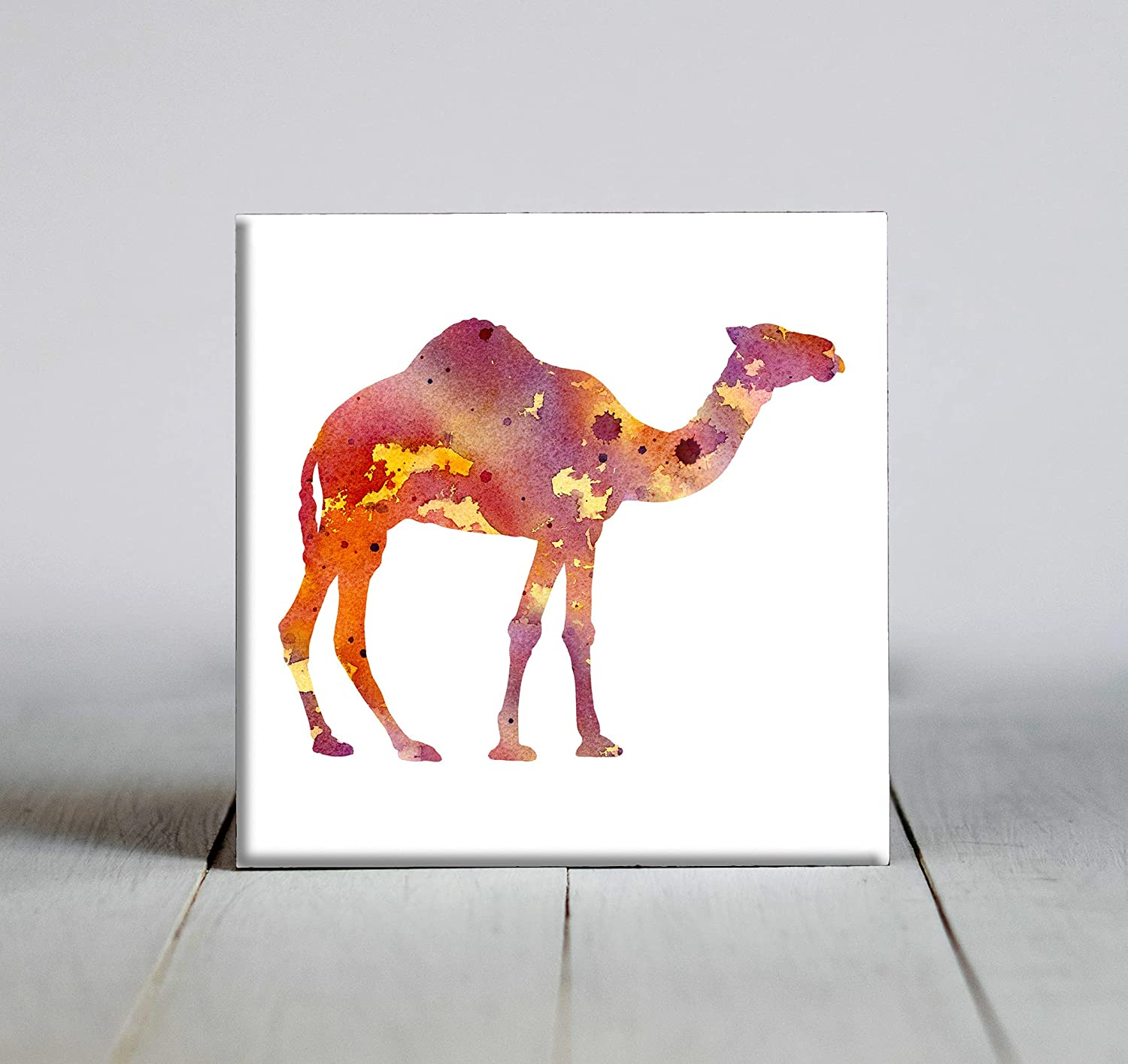 Yellow Abstract Camel Watercolor Art X Decorative 6 Tile Kansas Dealing full price reduction City Mall