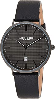Akribos Xxiv Casual Watch Analog Display For Men Ak935Bk, Black Band, Leather Strap