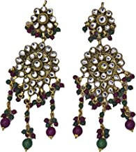 Kundan Earrings with Faux Ruby and Emerald - Copper Alloy