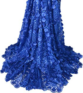 Aisunne African Lace Fabrics 5 Yards Nigerian French Lace Fabric with 3D Flower Fashion Embroidered Beading and Sequin for Wedding Party Dresses (Dark Blue)
