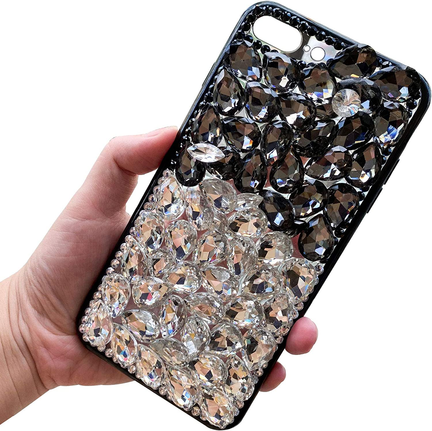 Bling Diamond Case for iPhone 8 Plus / 7 Plus 5.5 Inch, LCHDA Glitter Clear Crystal Full Diamonds Luxury Sparkle Transparent Rhinestone Protective Phone Case Cover for Woman Girls - White & Black