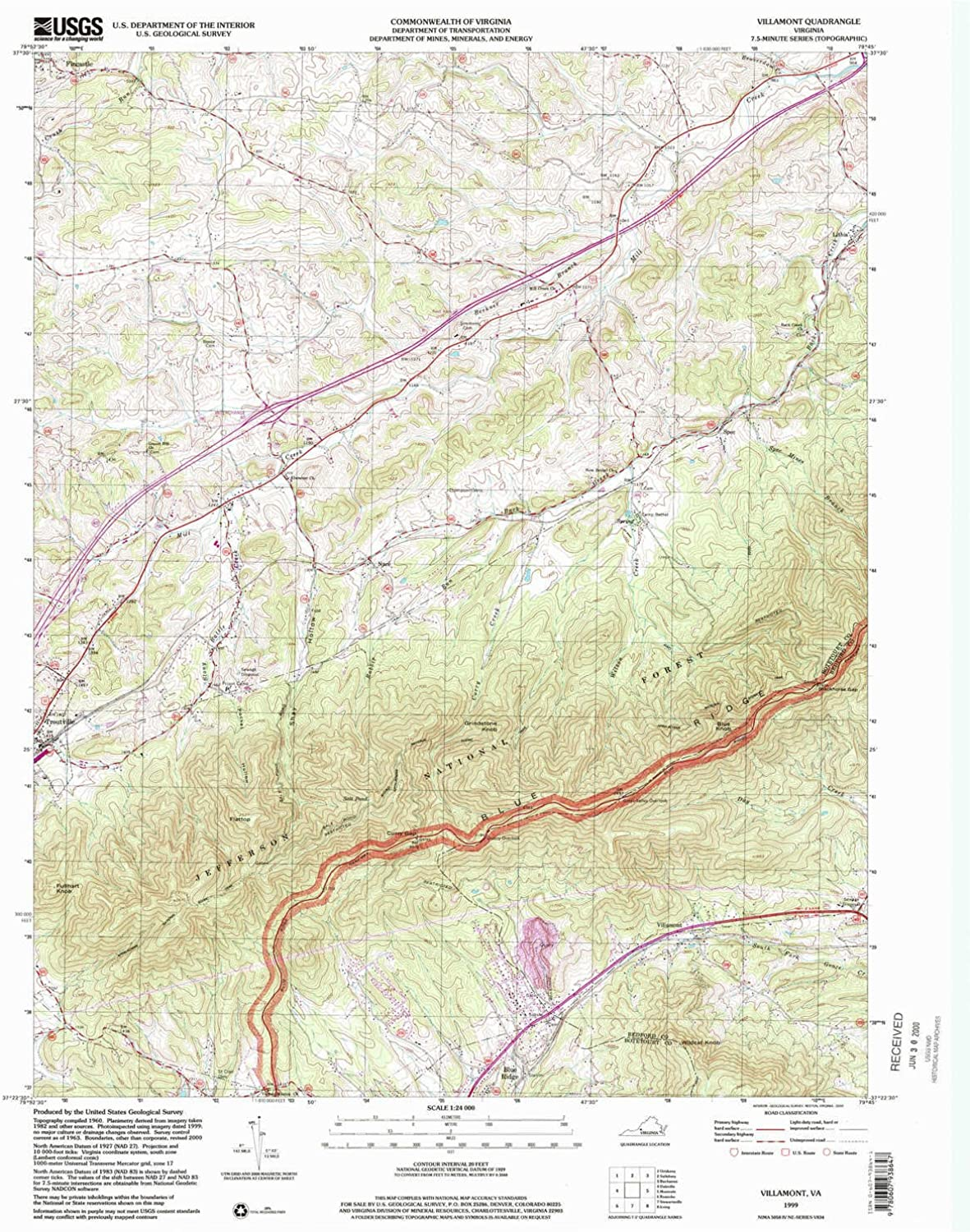 Villamont VA topo map, 1 24000 Scale, 7.5 X 7.5 Minute, Historical, 1999, Updated 2000, 26.9 x 22 in