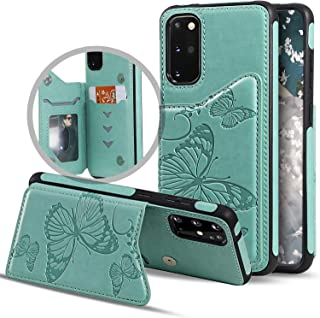 Vodico Galaxy S20+ Wallet Case,Samsung S20 Plus Case with Card Holder, Slim Protective Embossed Butterfly Leather Flip Folio Magnetic Closure Full Body Stand Phone Cover for Women/Girls (Green)