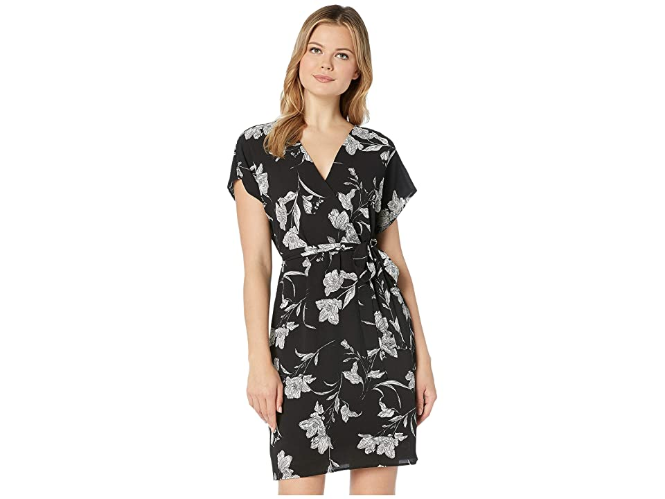 Bobeau Faux Wrap Dress (Black/White Floral) Women