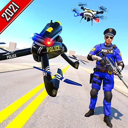 Miami Crime City Gangster Squad Chase Mission 2021 - Futuristischer US Police Flying Drone Bike Simulator 2021 - Ultimative 3D-Rettungsspiele für US City Rescue - Unmögliche Police Drone Bike-Freispie