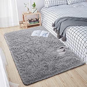 Comeet Soft Living Room Area Rugs for Bedroom Fluffy Rugs for Kids Room, Floor Modern Indoor Shaggy Plush Carpets, Home Decor Fuzzy Comfy Nursery Baby Boys Abstract Accent, Grey Shag Rug 3x5 Feet