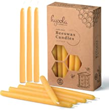 Hyoola Thin Beeswax Taper Candles – 25 Pack – Handmade, All Natural, 100% Pure Scented Bee Wax Candle - Tall, Decorative, ...
