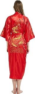 Mens Robe Chinese Silk Embroidered Dragon Pattern Kimono Bathrobe Yukata Pajamas with Waistband and Pockets
