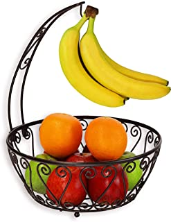 GZZX Fruit Basket Bowl with Banana Tree Hanger, Bronze