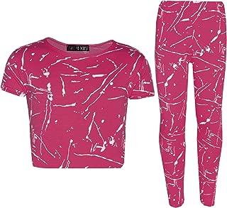 Girls Top Kids Splash Print Stylish Crop Top & Fashion Legging Set Age 7-13 Year