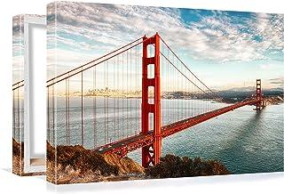 Golden Gate Puente Ciudad Paisaje - Cuadro de Pared de Lona Arte y decoración - 4 tamaños Diferentes - Estirado en Marco de Madera - San Francisco Puente y Agua (80x60cm)
