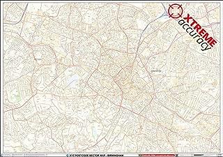 XYZ Postcode Sector Map - (C4) - Birmingham City Centre: Plastic Coated Wall Map