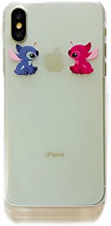 Phone Kandy Frosted Hard Transparent Shell Cartoon Case & Screen Guard for iPhone (HTFA01) (Angel & Stitch, iPhone 6 6s)