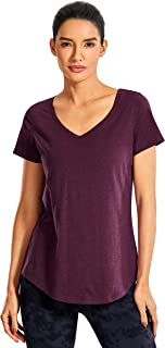 CRZ YOGA Women's Pima Cotton V-Neckline Workout Shirts Loose Fit Yoga Short Sleeves Running Tops