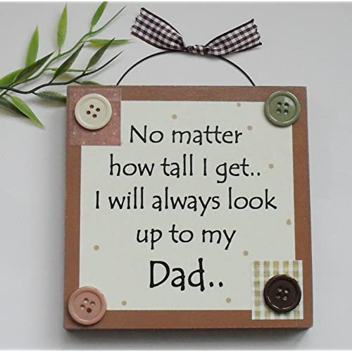 Best Dad Fathers Day Birthday Wooden Keepsake Gift Plaque Brown