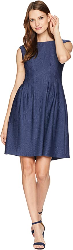 Textured Pintuck Fit and Flare Dress