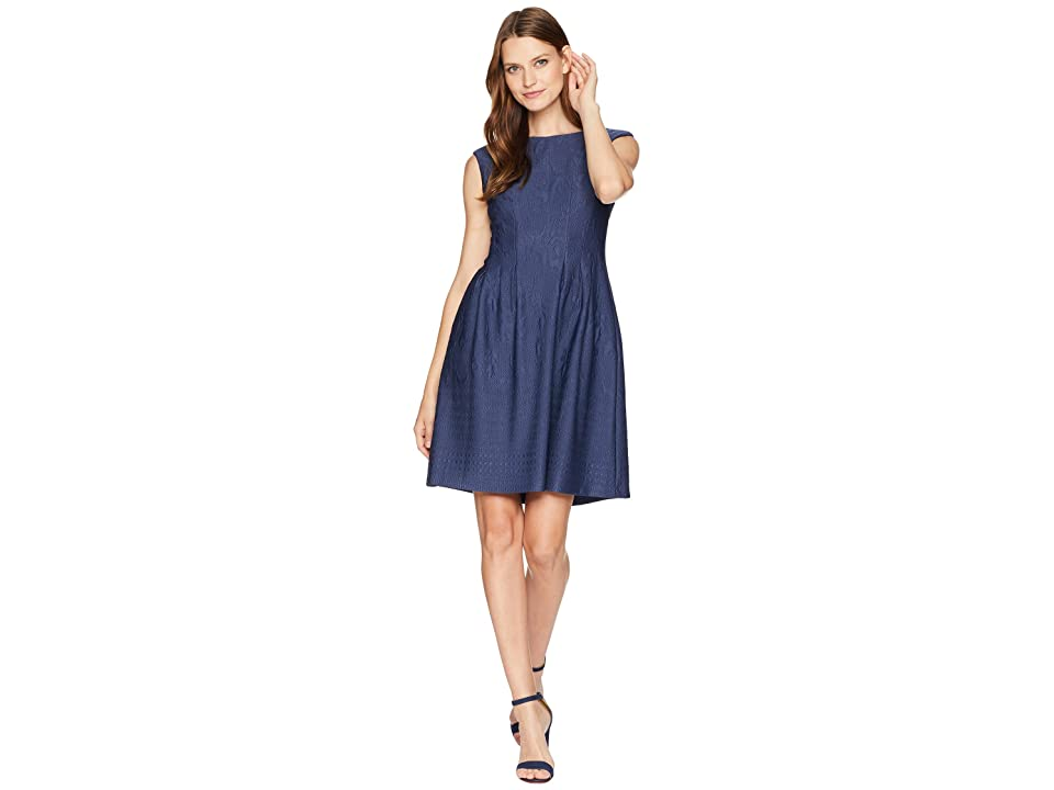 Taylor Textured Pintuck Fit and Flare Dress (Navy) Women