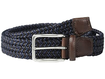 Torino Leather Co. Italian Woven Cotton and Leather Elastic (Navy) Men