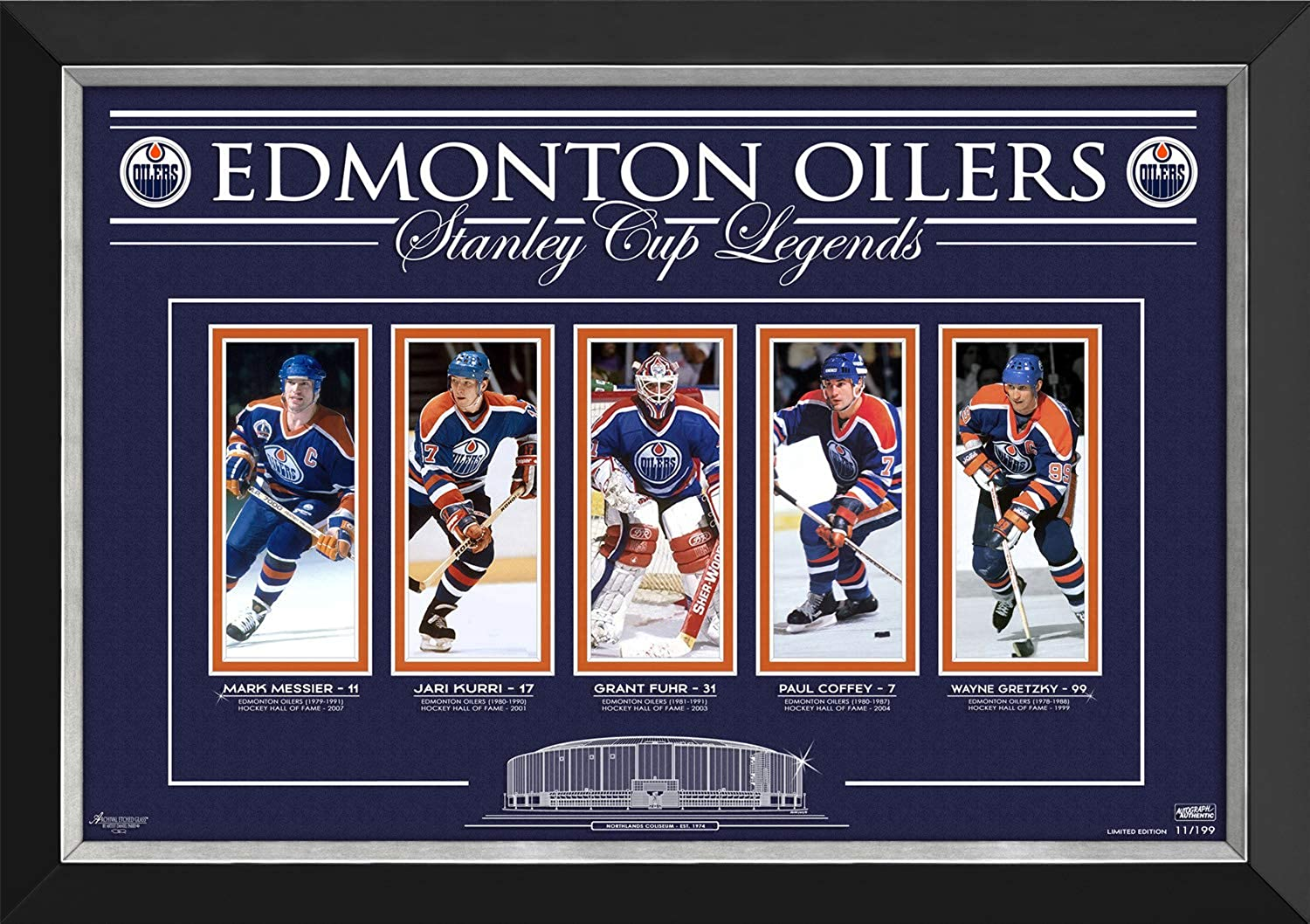 Edmonton Oilers Stanley Cup Legends Limited Edition 11 199  Laser Etched Glass