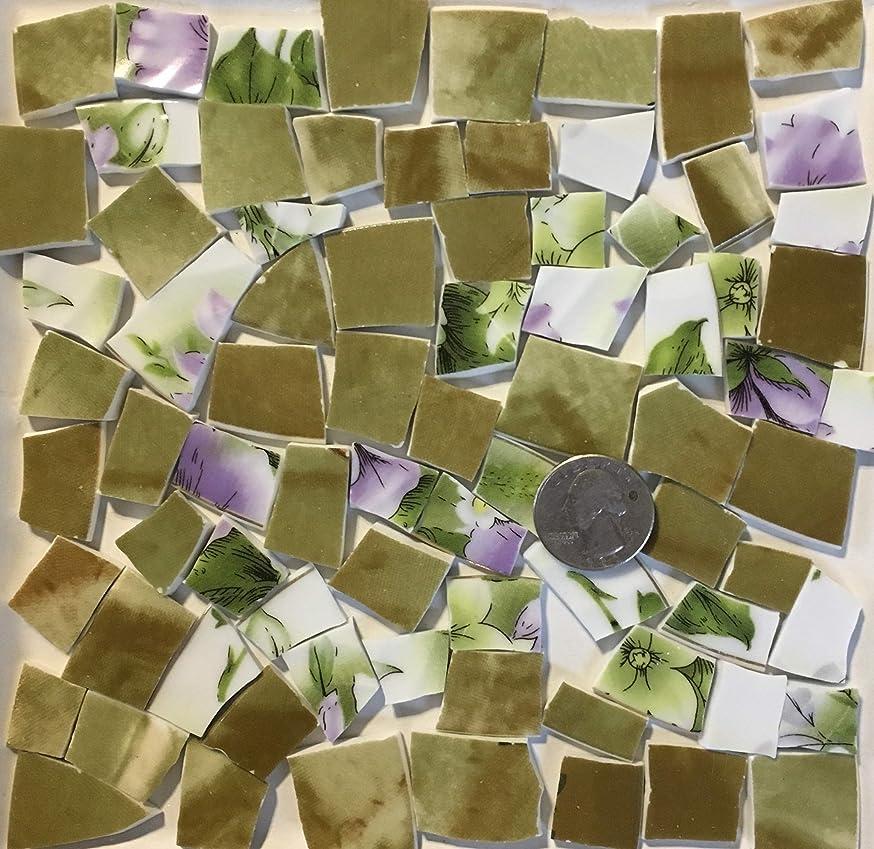 Mosaic Art & Crafts Supply ~ Green & Purple Flower Tiles (B359)
