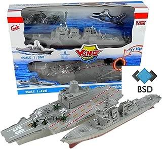 Portaaviones y el modelo acorazado con sonido y luz - portaaviones con aviones militares, helicópteros