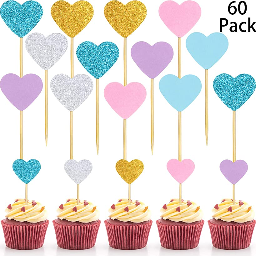 60 Pack Cupcake Toppers Glitter Hearts Cupcake Toppers Heart Decoration Picks Birthday Cake Decoration Food Picks Wedding Party Baby Shower Supplies