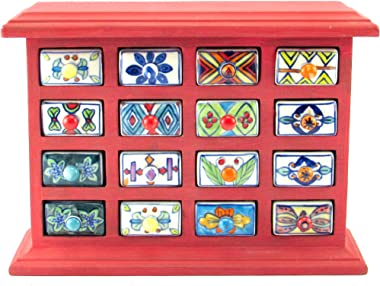 Hiba Enterprises Wooden Chest with Ceramic Box Drawer (Red)