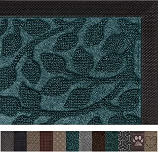 Gorilla Grip Original Durable Rubber Door Mat, 29x17, Heavy Duty Doormat, Indoor Outdoor, Waterproof, Easy Clean, Low-Profile Rugs for Entry, Patio, High Traffic Areas, Green Vine Leaves