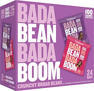 Bada Bean Bada Boom Plant-based Protein, Gluten Free, Vegan, Non-GMO, Soy Free, Kosher, Roasted Broad Fava Bean Snacks, 1-- Calories per Bag, The Sweet Box Variety Pack, 1 Ounce (24 Count)