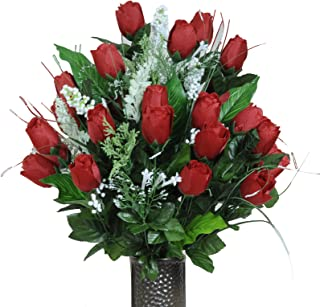 Stay-In-The-Vase Artificial Cemetery Flowers for Outdoor-Grave-Decorations - Red-Rose Bud Bouquet Lush Fake Flowers, Non-B...