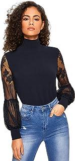 Floerns Women's High Neck Lace Lantern Long Sleeve Top Blouse