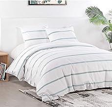 مجموعات غطاء لحاف من SINGINGLORY Seersucker ، أبيض 3 قطع غطاء لحاف وغطاء، مجموعات أغطية سرير مخططة (الملكة 90 × 90 بوصة، م...