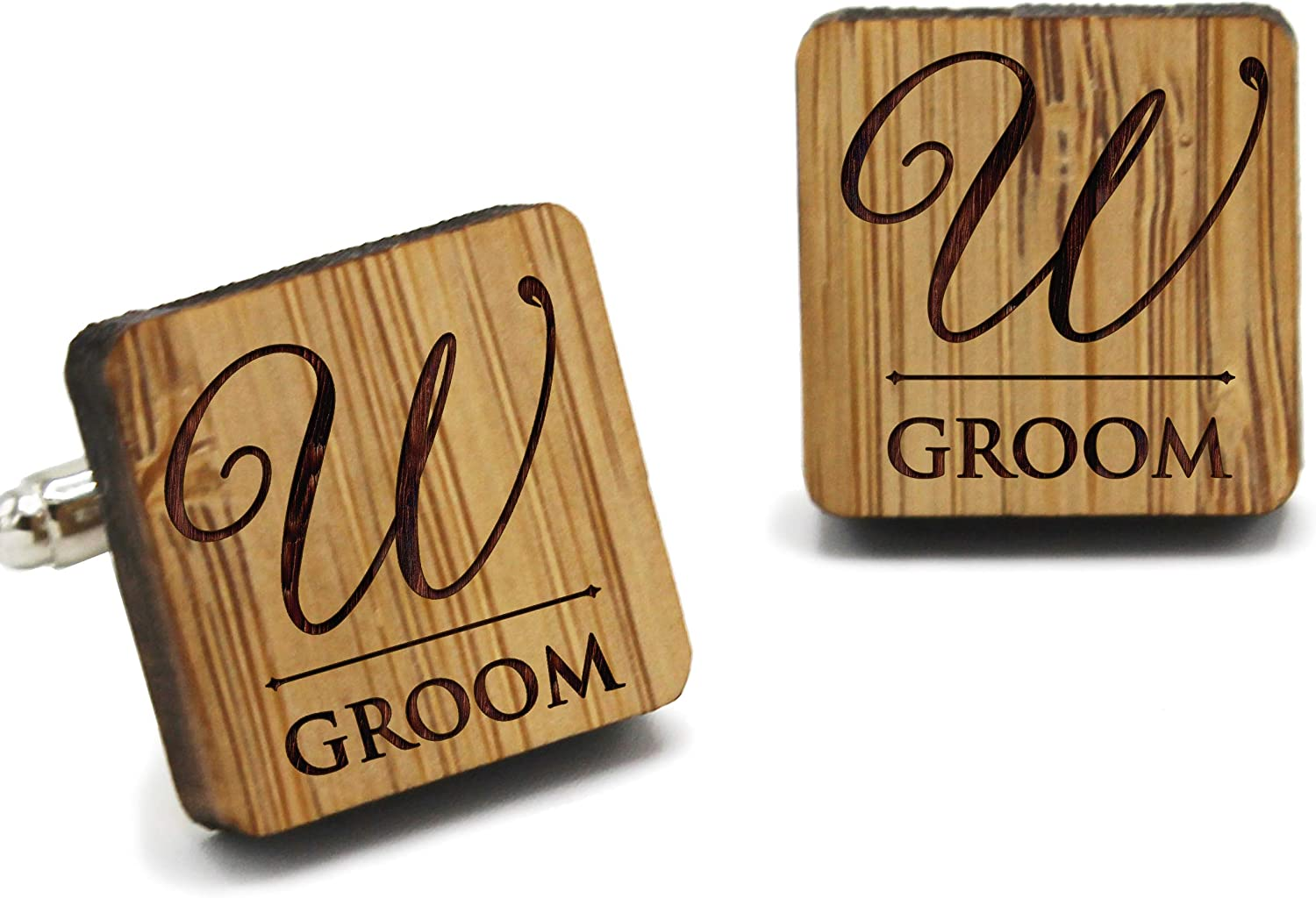 The Wedding Party Store Custom Personalized Wood Cuff Links - Engraved Wooden Cufflinks for Groom, Groomsmen, Best Man