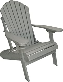 ECCB Outdoor Outer Banks Deluxe Oversized Poly Lumber Folding Adirondack Chair (Driftwood Gray)