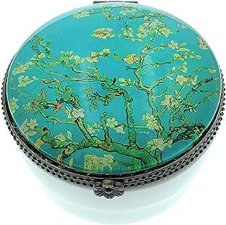 Value Arts Vincent Van Gogh Almond Blossoms Trinket Box, Ceramic and Glass, 2.5 Inches Diameter