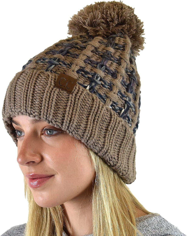 C.C Winter Warm Chunky Thick Ombre Double Slipstitch Knit Pom Cuff Beanie