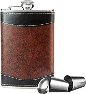 New Scale 8oz Stainless Steel Primo 18/8 Brown/Black PU Leather Premium/Heavy Duty Hip Flask Gift Set - Includes Funnel 2 Cups and Gift Box