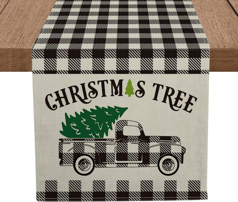 Luxury Artoid Mode Buffalo Plaid Christmas Price reduction Table Tree Sea Truck Runner