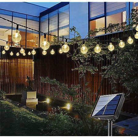 Bteng Solar Garden Lights, 60 LED Outdoor String Lights Solar Powered Waterproof Fairy Lights Decorative Crystal Ball Lighting for Halloween Christmas Tree Patio Home Wedding Parties Festival, 36ft