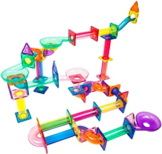 PicassoTiles Marble Run 120 Piece Magnetic Building Blocks Magnet Tile Construction Toy Playset STEM Learning Educational ...
