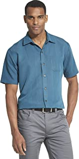 Men's Air Short Sleeve Button Down Poly Rayon Stripe Shirt