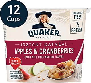 Quaker Instant Oatmeal Express Cups, Apples & Cranberries, 12 Count
