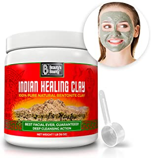 Indian Healing Clay – 100% Pure Natural Bentonite – Deep Pore Cleanser Facial & Acne Treatment – Face Body & Hair Detox Mask – Made in USA, 16 oz