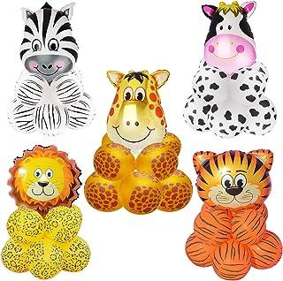 Keymall 50 Pieces Jungle Safari Animal Pattern Balloons Tiger Lion Zebra Giraffe Cow Wild Animals Print Balloons for Zoo T...