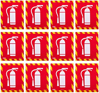 Fire Extinguisher Vinyl Sticker 12-Pack - Easy Install Self-Adhesive Safety Wall Sign for Indoor & Outdoor Use - Warning L...