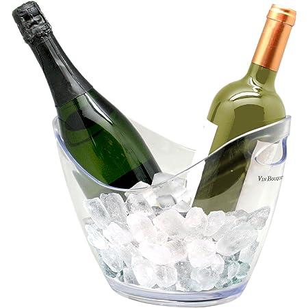 Vin Bouquet Seau à glaçons transparent pour deux bouteilles, en ABS, 23x29x40 cm