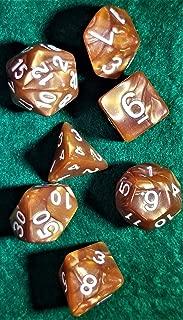 Optimum Value Bronze Amber RPG D&D Pathfinder 7 Piece Dice Set by Indie Game Hall